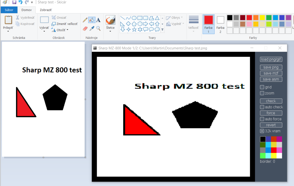 Sharp MZ comparing of simple picture in PAINT.PNG